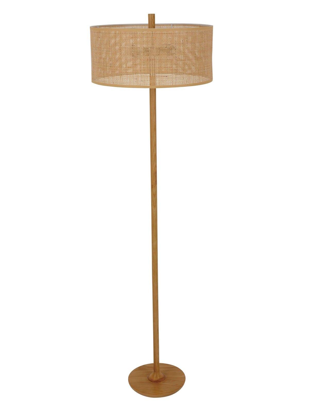 Shore 1 Light Floor Lamp in Tan Rattan Floor lamp