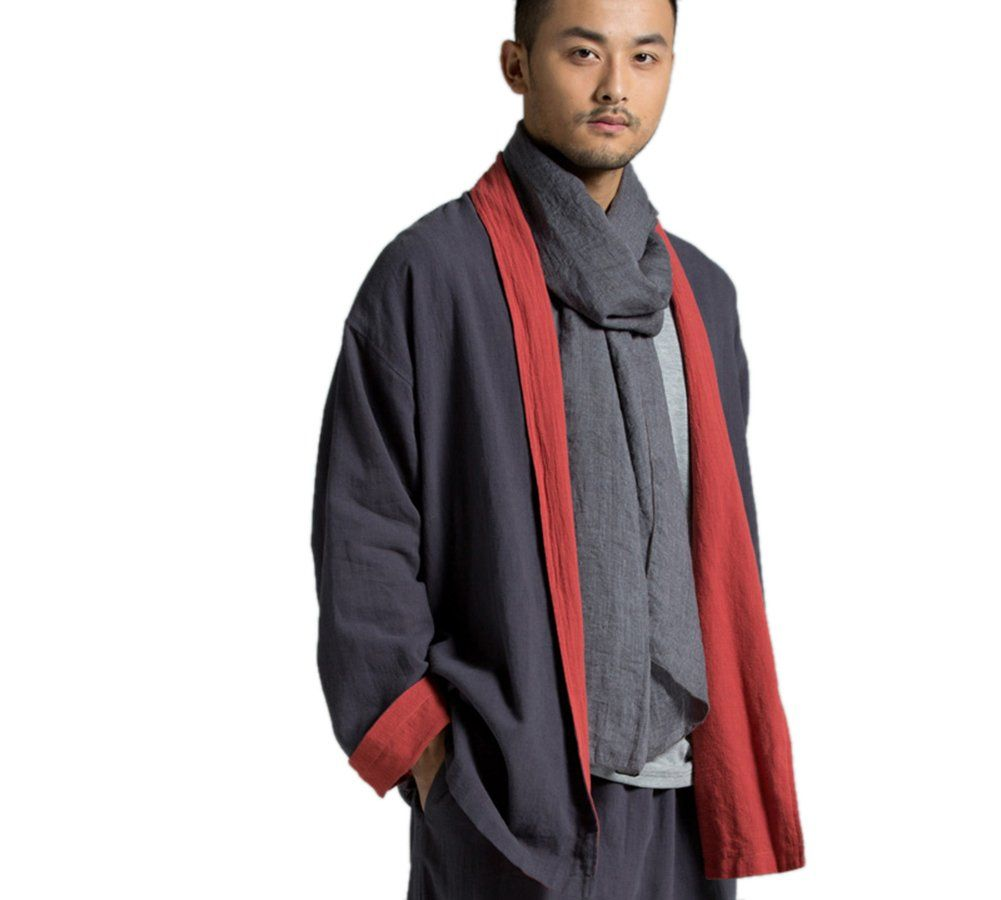Katuo Chinese Traditional Linen Coat Double Wear Casual Blouse Men (L)