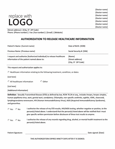 Great Authorization To Release Health Care Information