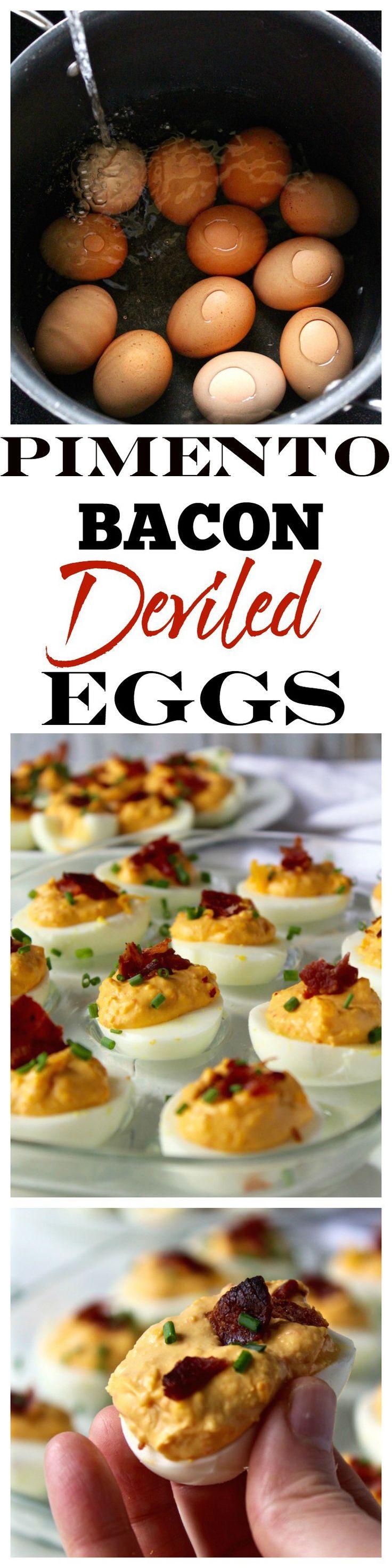 Pimento Bacon Deviled Eggs | Bessie Bakes