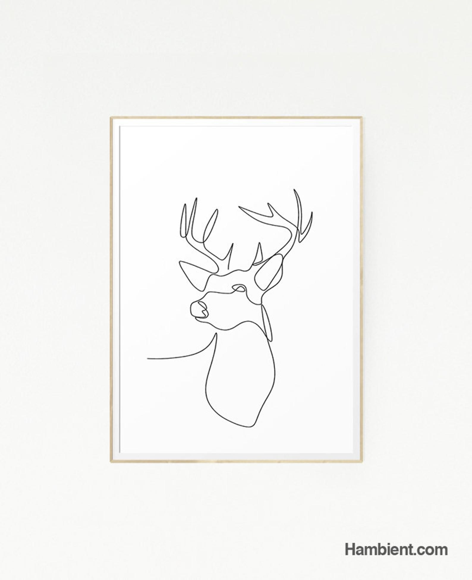 Printable Deer Drawing Art Poster Woodland Line Print Illustration Scandinavian Minimalist Black White Forest Animal Nordic Modern Deer Drawing Embroidered Canvas Art Line Art Drawings