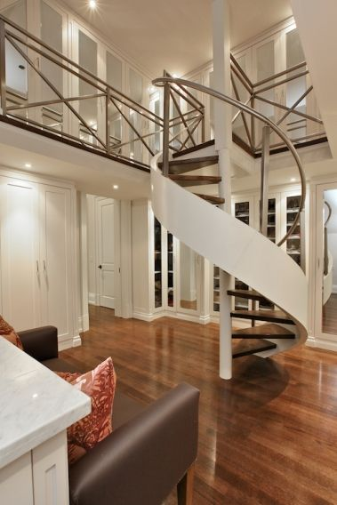 2 Story Closet With Spiral Staircase