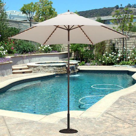 TropiLight - 9' LED Light Market Umbrella, Bronze, Beige - TropiLight - 9' LED Light Market Umbrella, Bronze, White Pinterest