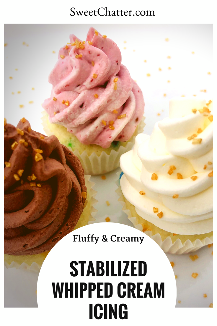 Stabilized whipped cream is the perfect addition to any cake or dessert. It holds its shape beautifully and will look great for days! #whippedcream #cream #stabilizedwhippedcream #stabilizedwhippedcream