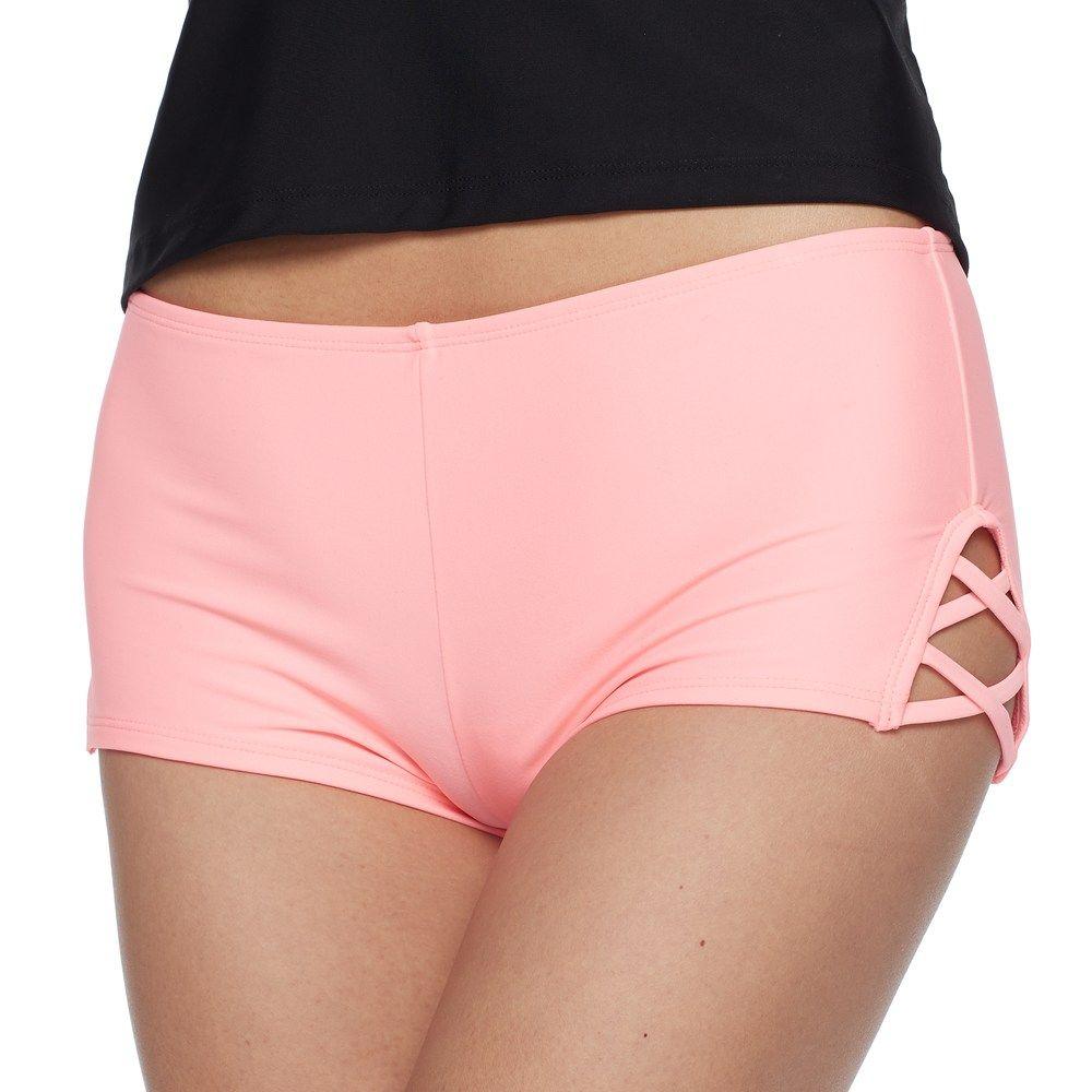 f8b53a2cd1 Swimsuits for Women. Mix and Match Criss-Cross Swim Shorts, Size: Small,  Light Pink