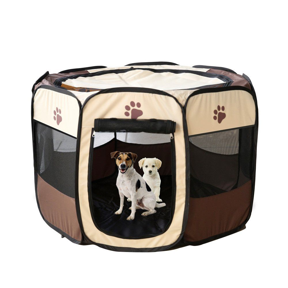 1pc Foldable Octagonal Pet Tent Dog House Bed Cage Cat Tent Kennel Fence Indoor Outdoor Brown Read More Reviews Of The Cat Playpen Dog Playpen Dog Pet Beds