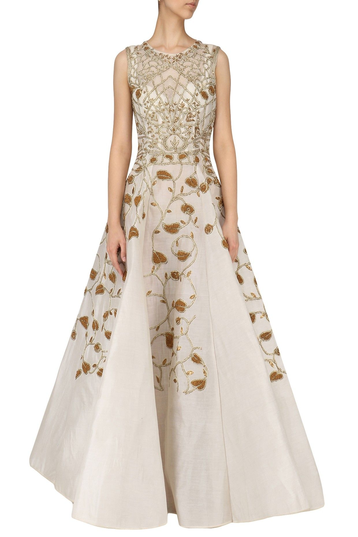 Samant chauhan off white gold zari embroidered gown shop now