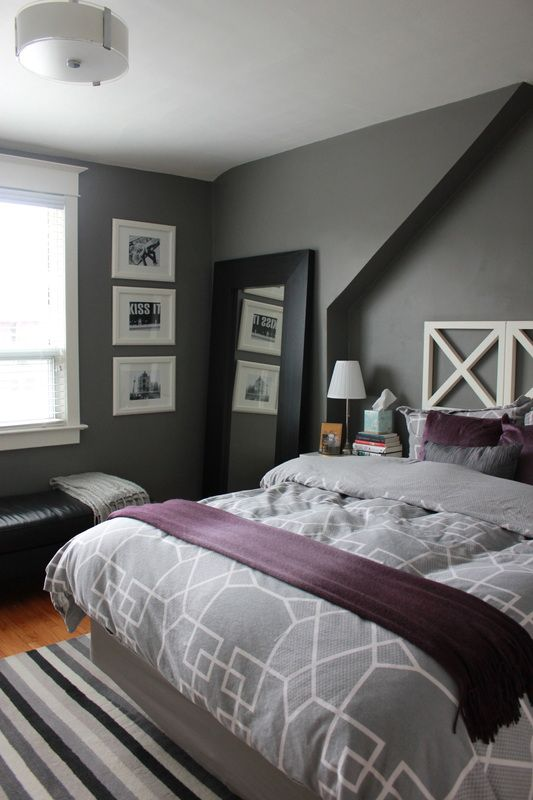 Gray Bedrooms Play With Coloration | Gray Bedroom, Grey Duvet And Purple  Gray Bedroom