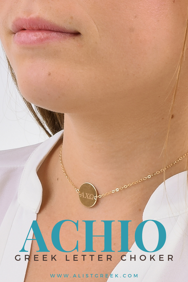 Alpha Chi Omega Circle Choker  AList Greek Designs Shop this trendy yet classy Alpha Chi Omega engraved circle choker Laser engraved with your AXO greek letter on a disc...