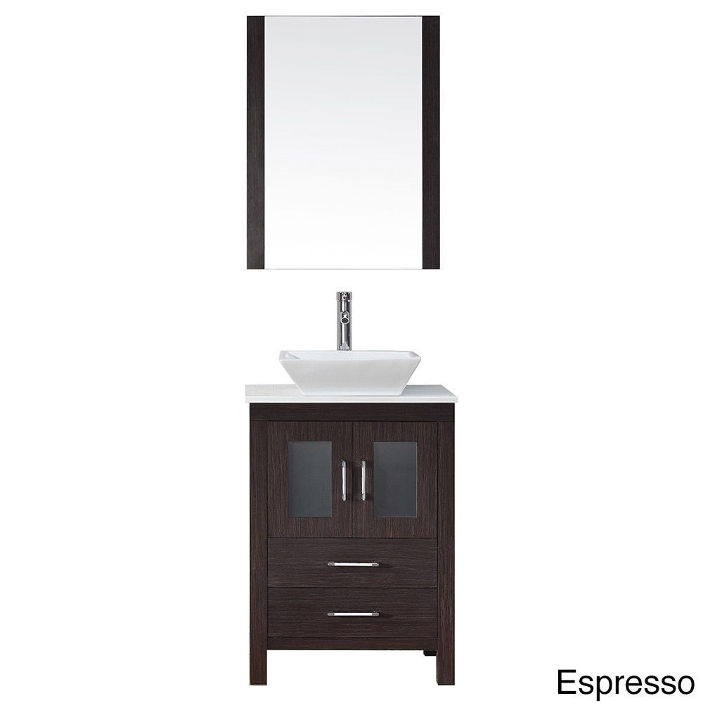 Virtu Usa Dior 28 Inch Stone Top Single Bathroom Vanity Set With Faucet Espresso Finish Brown Size Vanities