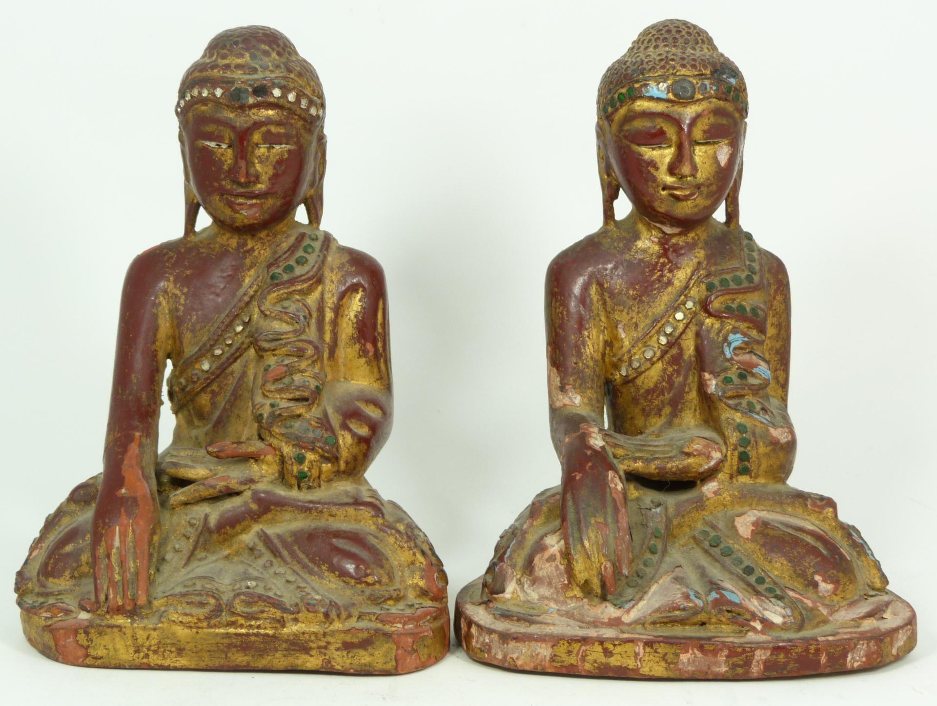 antique buddha pair   546 pair of 18th century gilt wooden thai buddhas antique pair of gilt ...