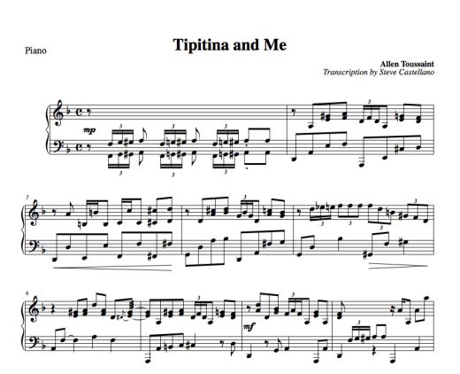 Tipitina And Me Free Piano Transcription Allen Toussaint Version Piano Lessons Allen Toussaint New Orleans Music