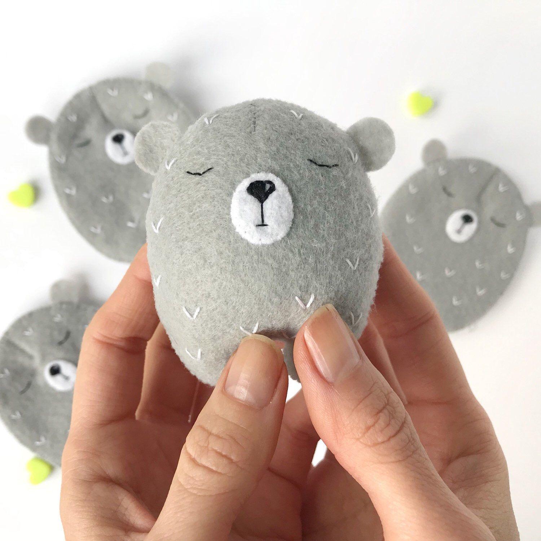Grey Felt Bear With A Balloon Teddy Bear Felt Bear In Top Hat Tiny Bear Toy Felted Animals Felt Animals Small Stuffed Bear Mini Bears Bear Felt Felt Toys Felt Crafts