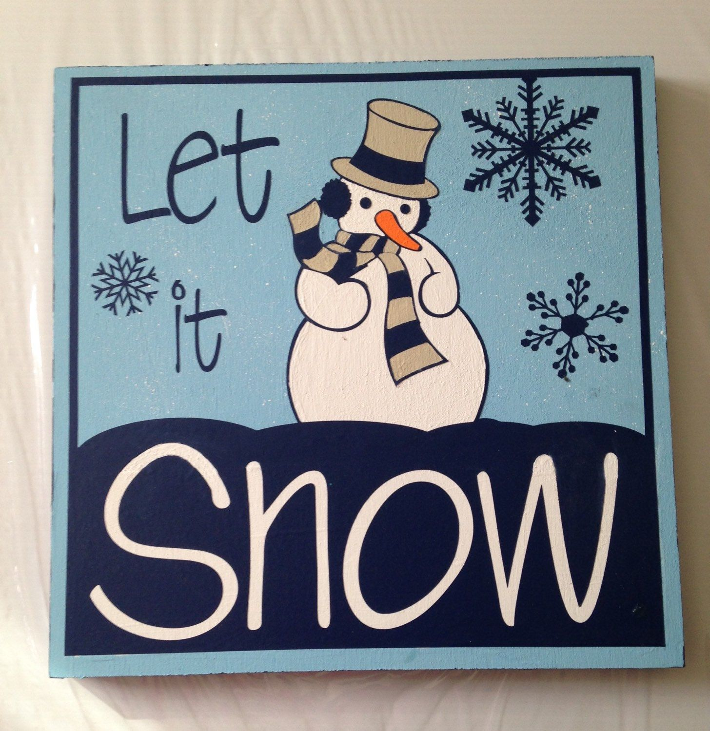 Let It Snow wooden plaque by PartyGirlArtwork on Etsy