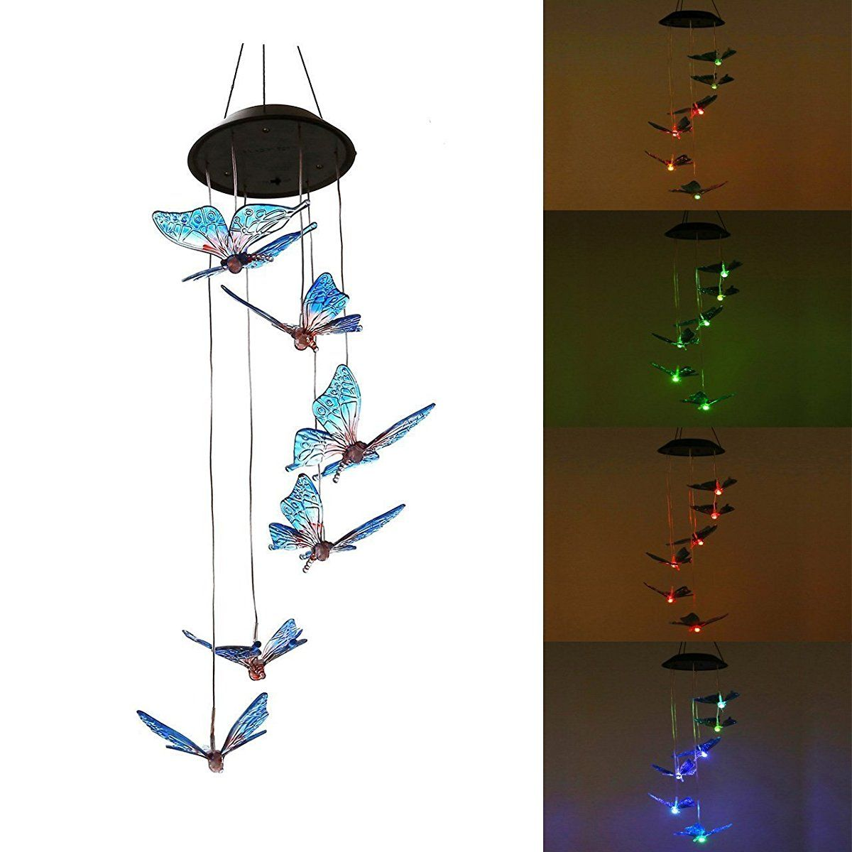 BUTTERFLY WIND CHIME SOLAR POWERED LIGHT GARDEN OUTDOOR LED LAMP LIGHTS HANGS