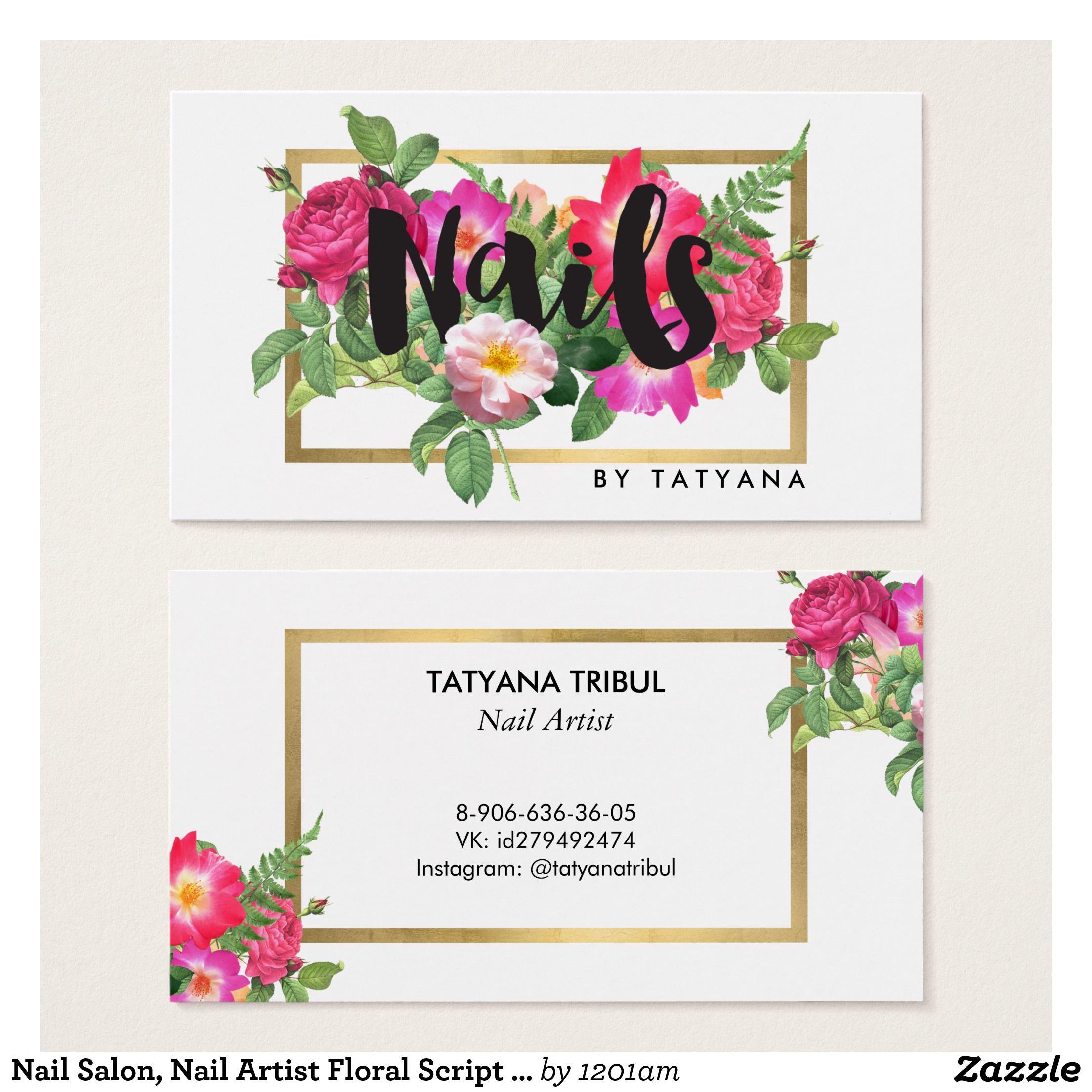 Nail Salon, Nail Artist Floral Script Text White Business Card ...