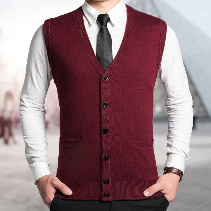 2016 Latest Fashion Men Autumn Sleeveless Solid Color Buttons Up ...