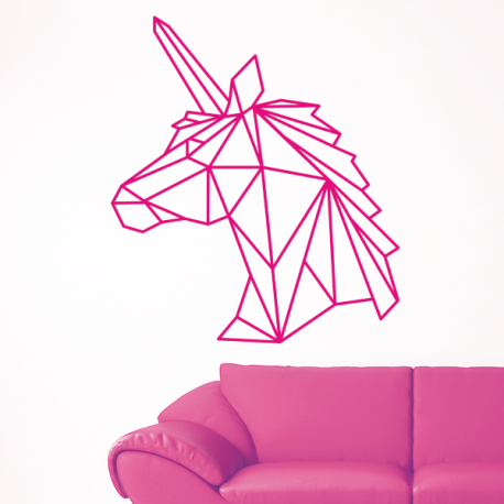 D coration sticker mural licorne origami g om trique for Decoration murale licorne
