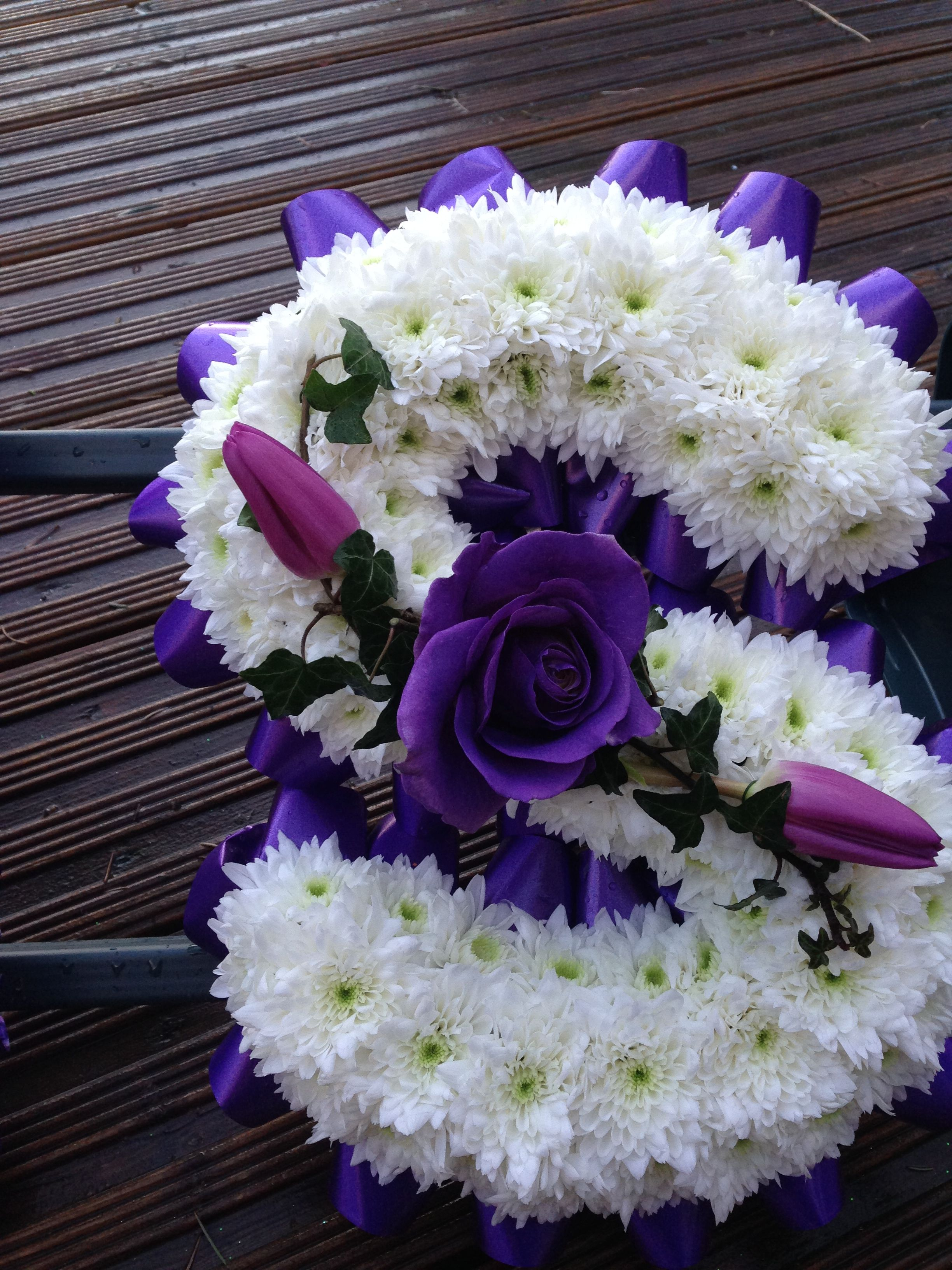 Funeral flowers deep purple and white funeral flower letter deep purple and white funeral flower letter tributes thefloralartstudio izmirmasajfo