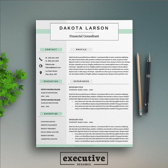 Professional 4 Page Resume Template \/ CV, Cover Letter A4 \ US - references page for resume