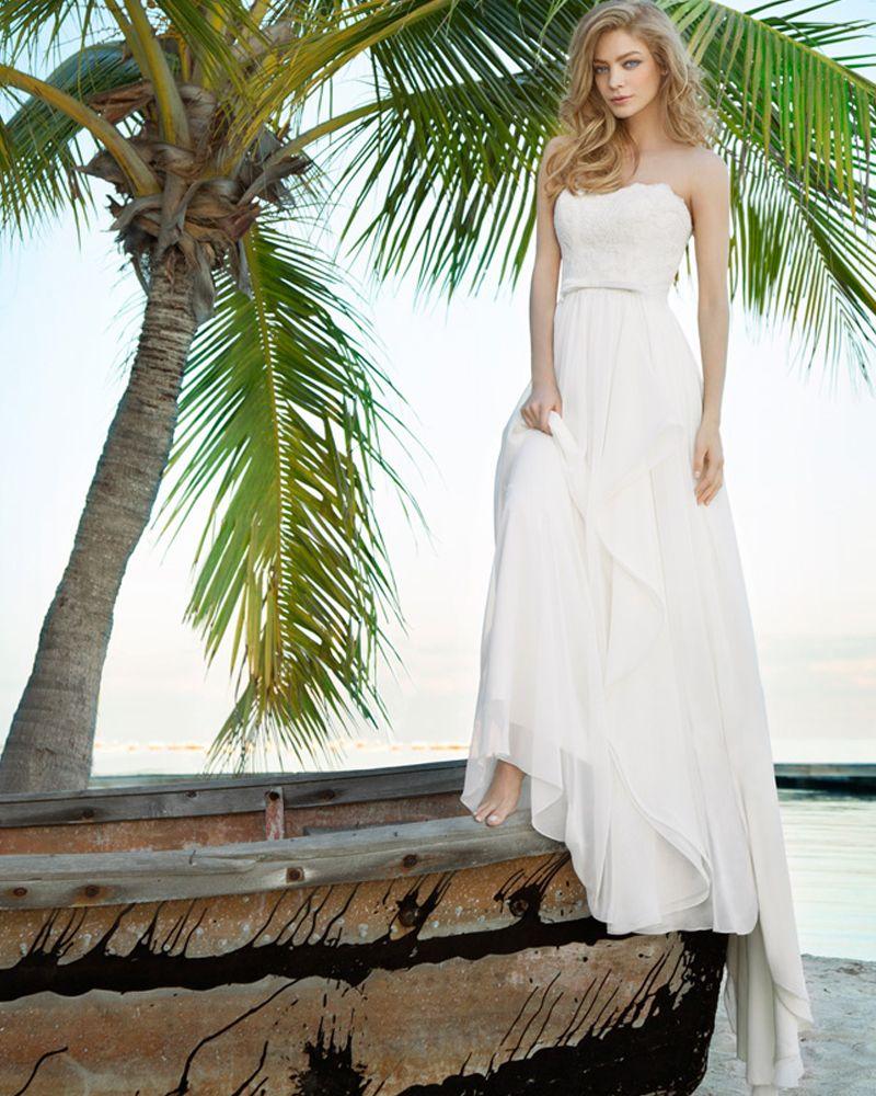 Wedding dress with bow on back   Vintage Chiffon Strapless Aline Wedding Dresses Thin Bow Belt