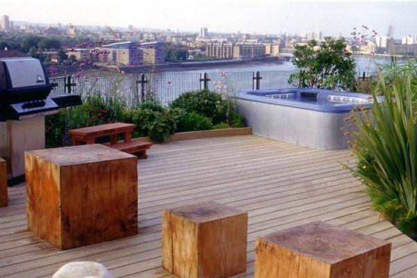 Gestaltung Dachterrasse schöne dachterrasse gestaltung holz hocker architektonisch element