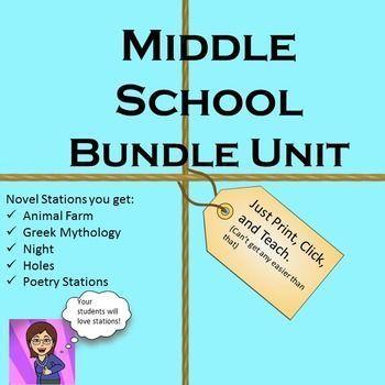 Middle School Station Bundle: Night,Poetry,Mythology,Holes
