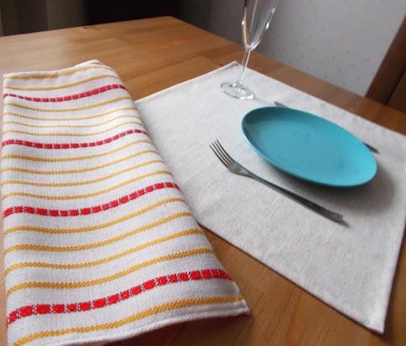 Rustic napkins set of 8 linen table runner homespun fabric & Rustic napkins set of 8 linen table runner homespun fabric ...