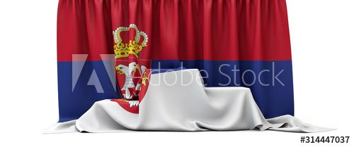 Serbia flag draped over a competition winners podium. 3D Render , #SPONSORED, #draped, #flag, #Serbia, #competition, #Render #Ad