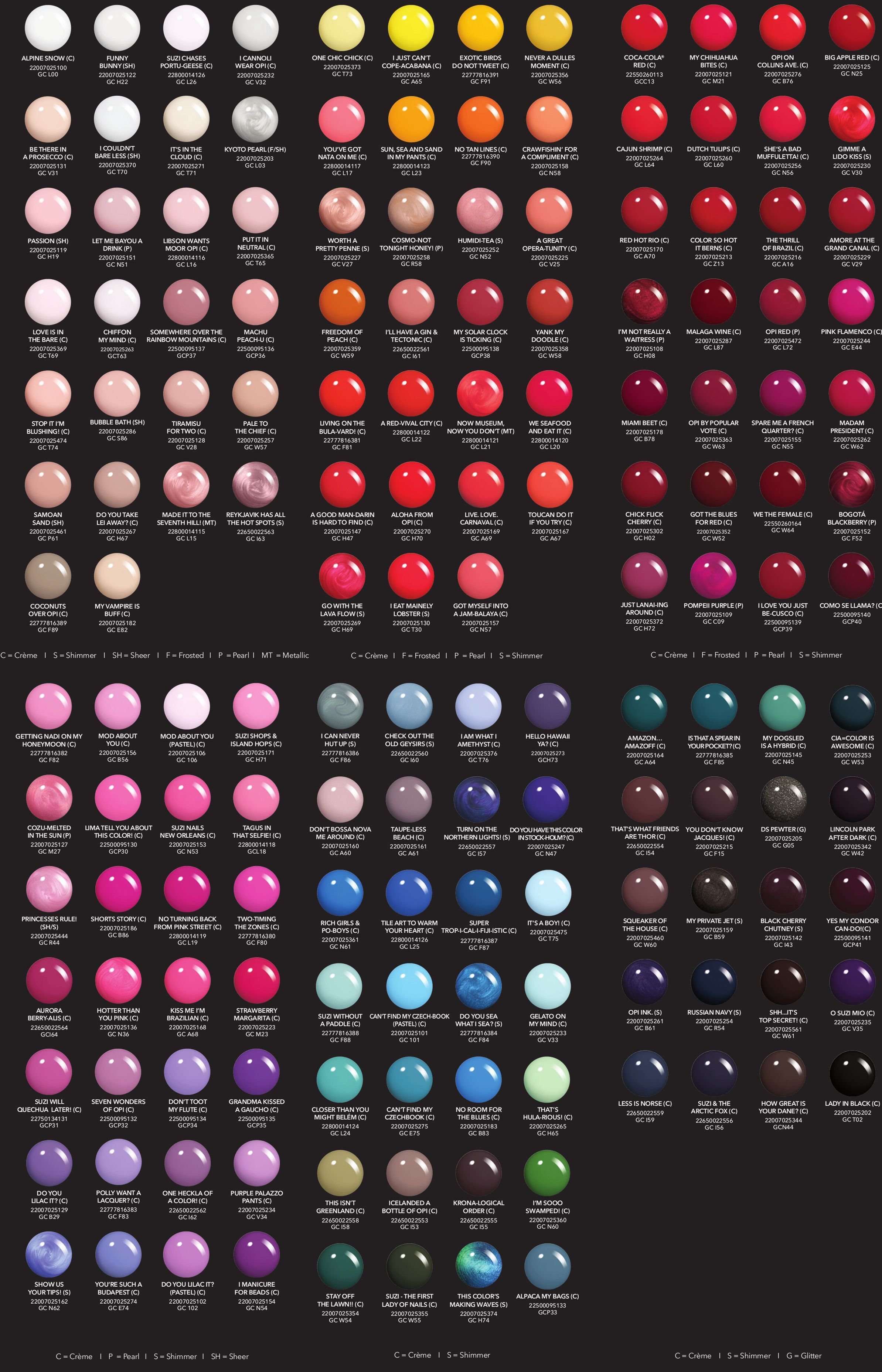 Gelcolor By Opi Nailcolor Nail Color Chart In 2020 Gel Nail Polish Colors Opi Gel Nail Polish Opi Gel Nails