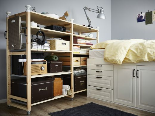 tag re ivar sur roulettes avec bo tes de rangement. Black Bedroom Furniture Sets. Home Design Ideas