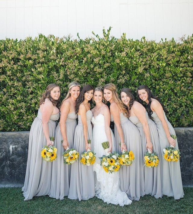 Yellow Themed Vineyard Wedding Wedding Bridesmaid Dresses