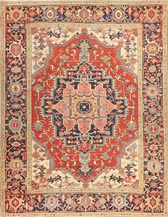Antique Persian Serapi Rug 47251 Main Image - By Nazmiyal  #antiquerugs #rugs #vintagerugs #antiquecarpets #carpets #vintagecarpets #moroccanrugs #orientalcarpets #orientalrugs #persiancarpets #persianrugs