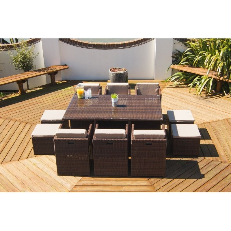 Outdoor Rattan Weave 6-10 Seater Cube Set Garden Patio Furniture With Footstools