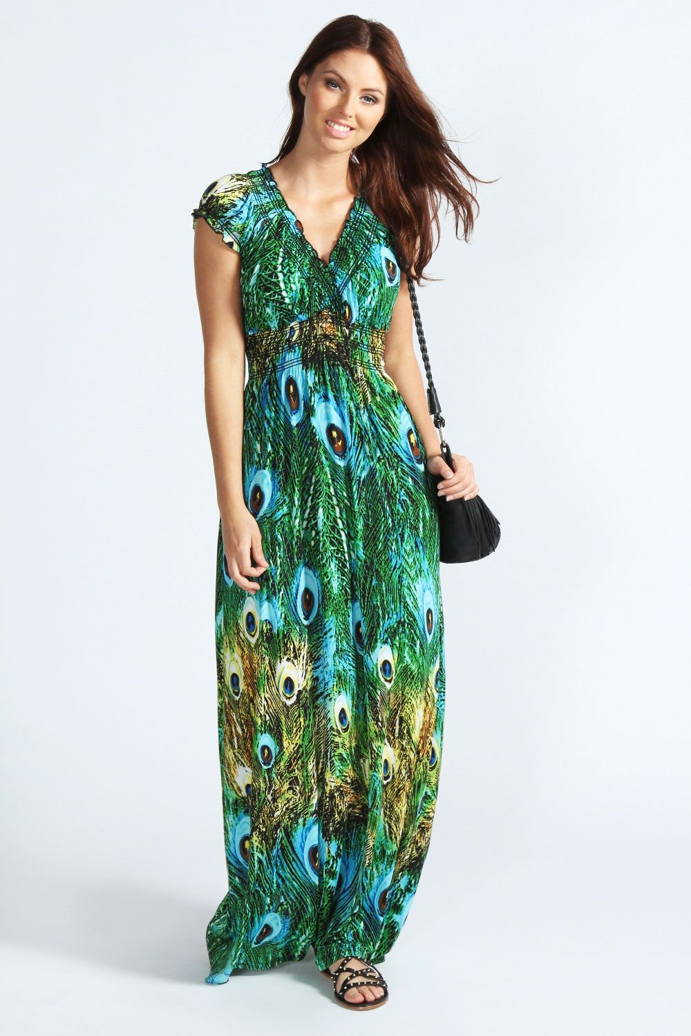 de23f0d8c3df Mollie Peacock Print Cap Sleeve Slinky Maxi Dress at boohoo.com | My ...