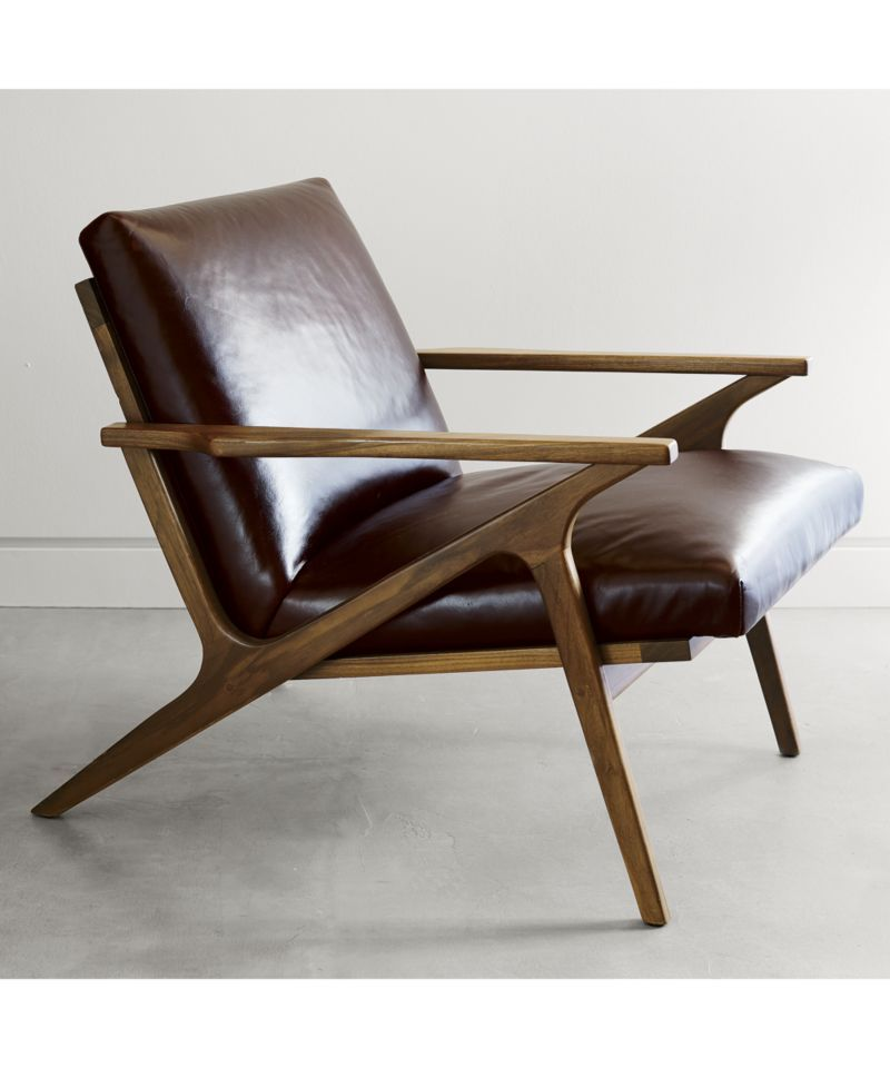 Cavett Leather Wood Frame Chair  Adams Mill Cottage