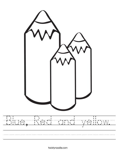 Blue, Red and yellow Worksheet - Twisty Noodle | Coloring ...