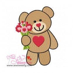 Valentine Teddy Bear 6 Embroidery Design