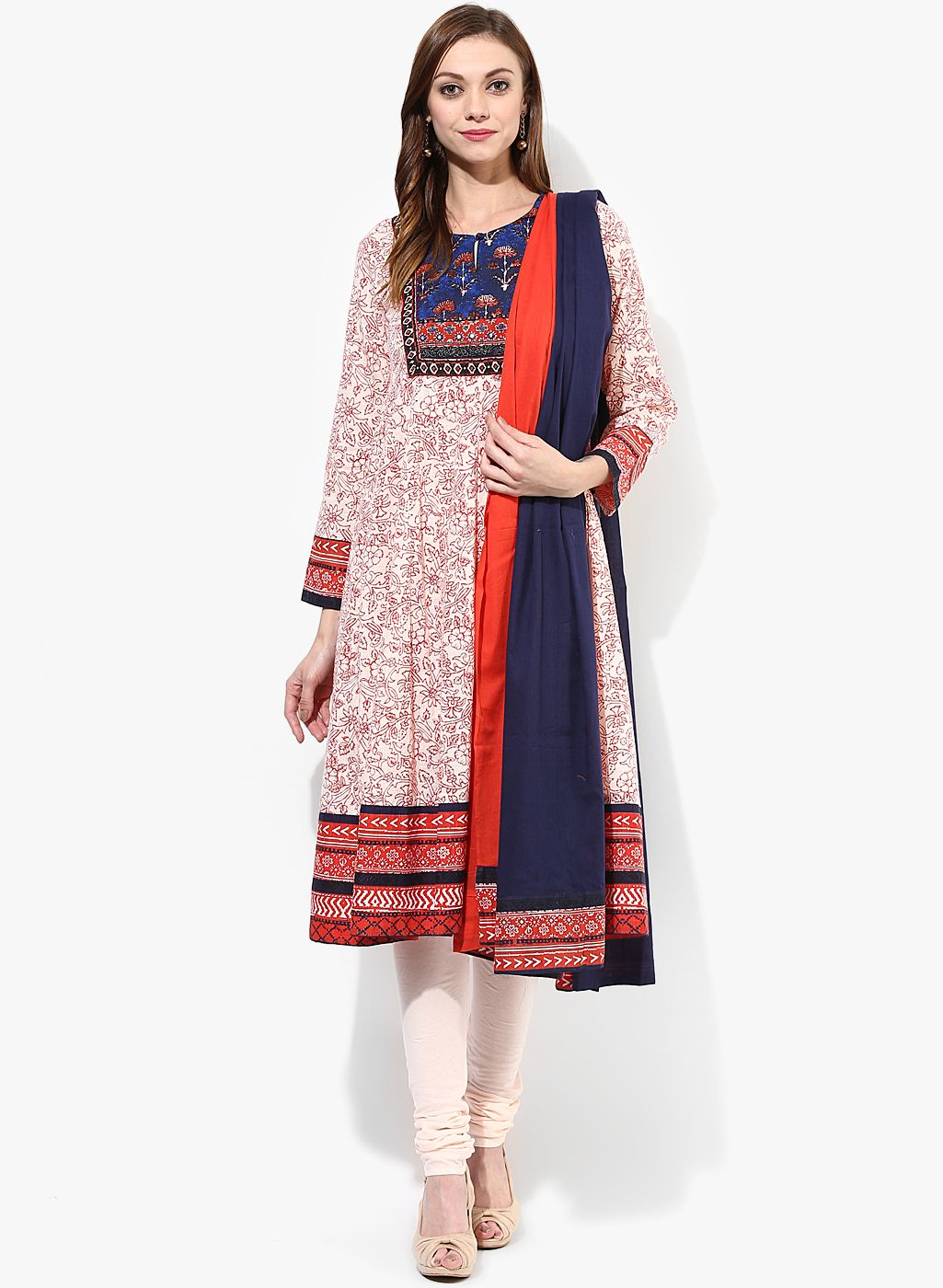f34b066419302 Biba Off White Floral Printed Salwar Kameez Dupatta Set @Looksgud.in  #OffWhite #Floral #SalwarSuit