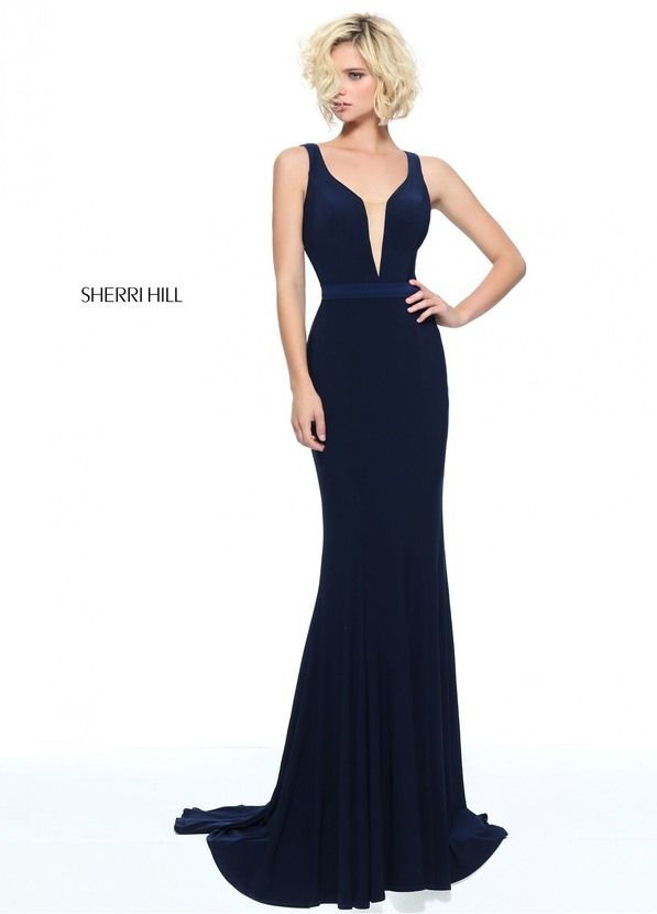 51096 - SHERRI HILL Fitted jersey with a sheer beaded back. New Braunfels  Austin San. Masquerade PromProm ShopDress ...