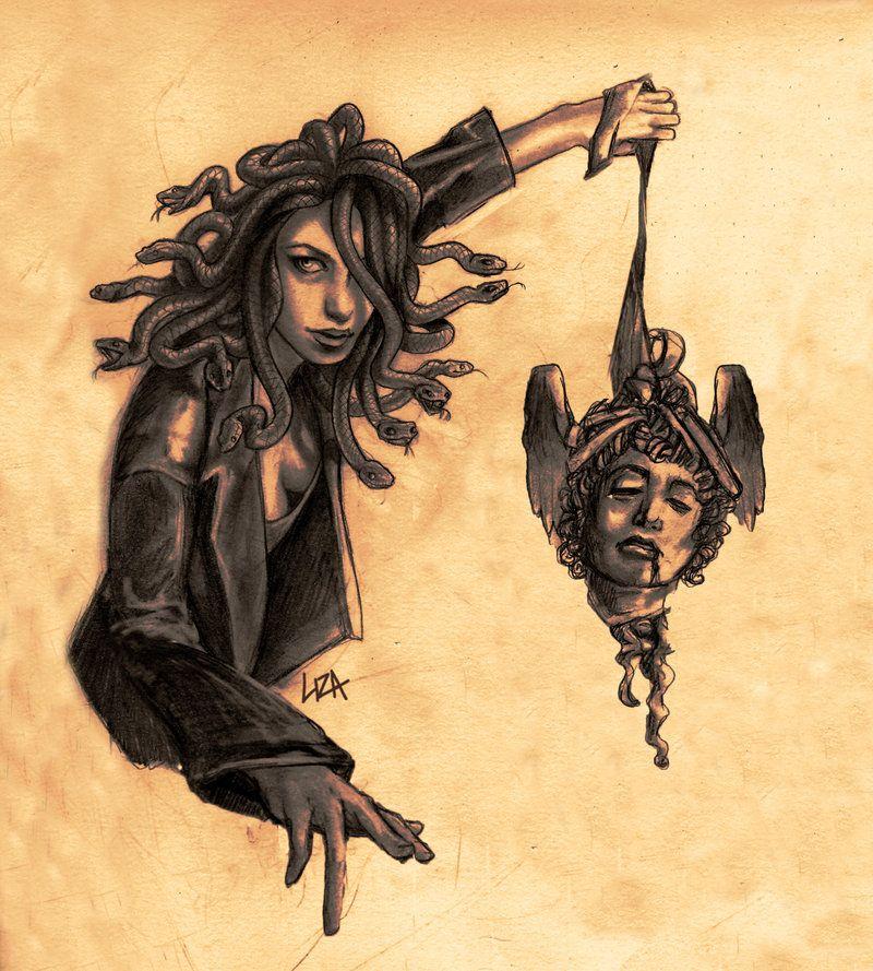 Medusa With Perseus Head By Liza Biggers Deviantart Com
