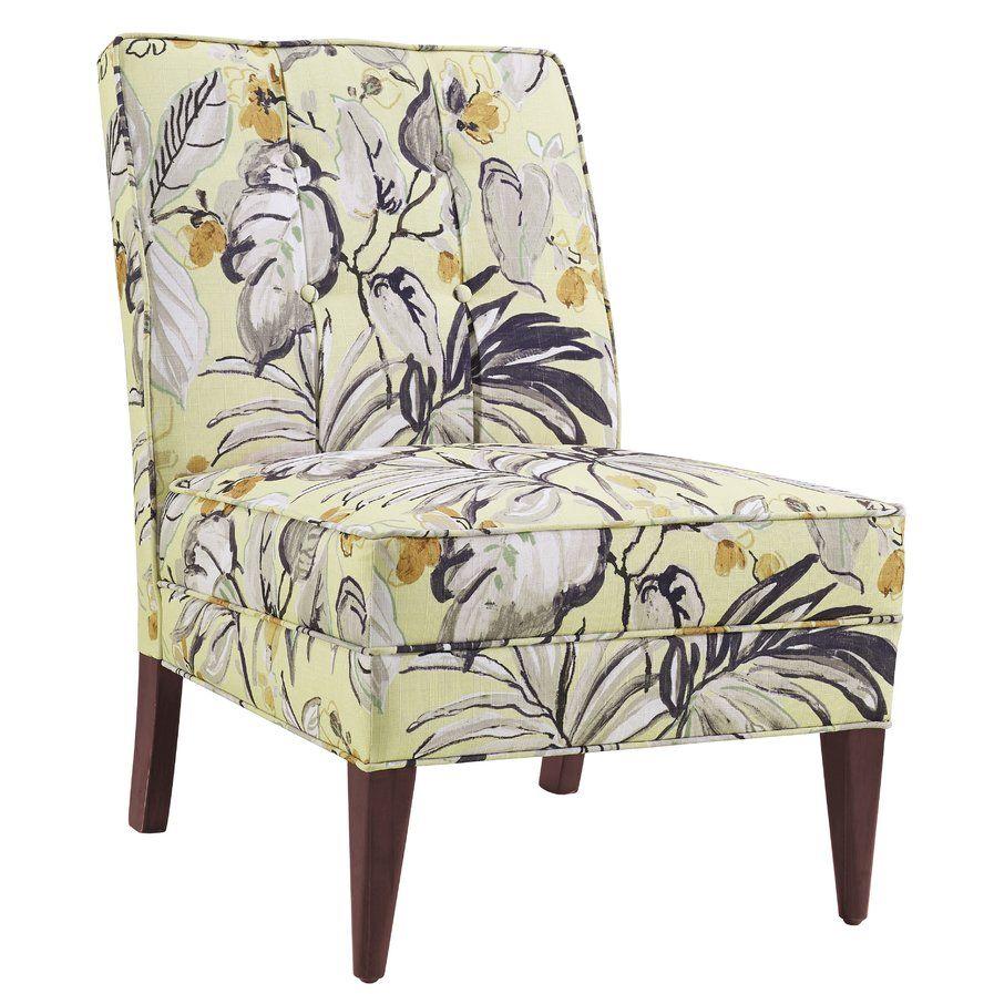 Best Hopbush Slipper Chair Floral Slippers Linon Blue 400 x 300