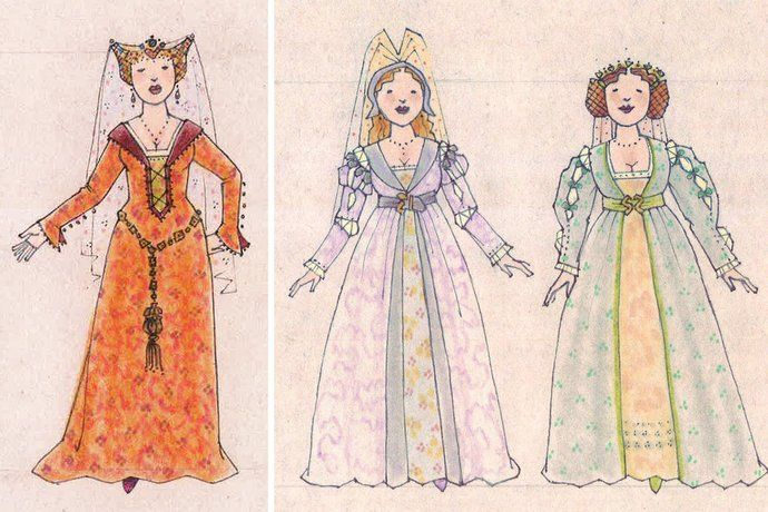 Ever After musical costume concept art - Jess Goldstein - Baroness Rodmilla and Marguerite and Jacqueline