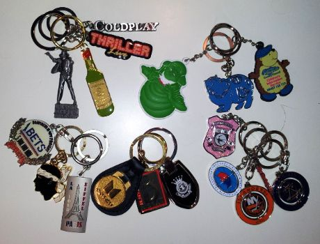 Artist and assorted keyrings. Coldplay, Thriller and more.