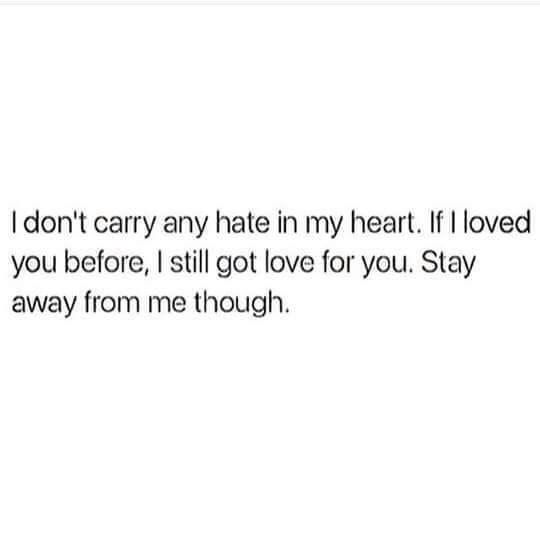 I don't carry hate in my heart