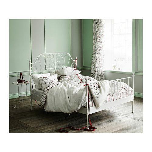 Leirvik Bed Frame White Lönset Queen