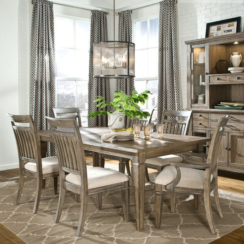 Legacy Brownstone Village 7 Piece Dining Table Set with Slat Back ...