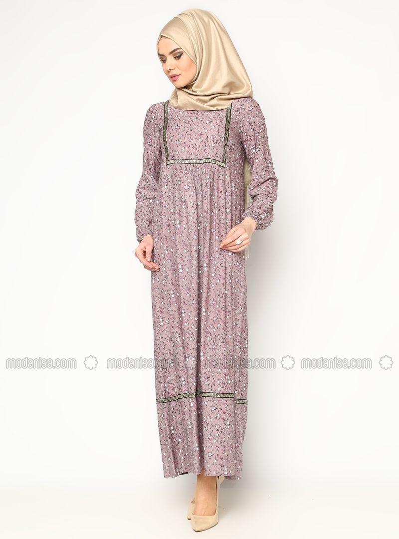 Cicekli Elbise Pudra Cml Collection Goruntuler Ile Cicekli Elbise Islami Moda Elbise