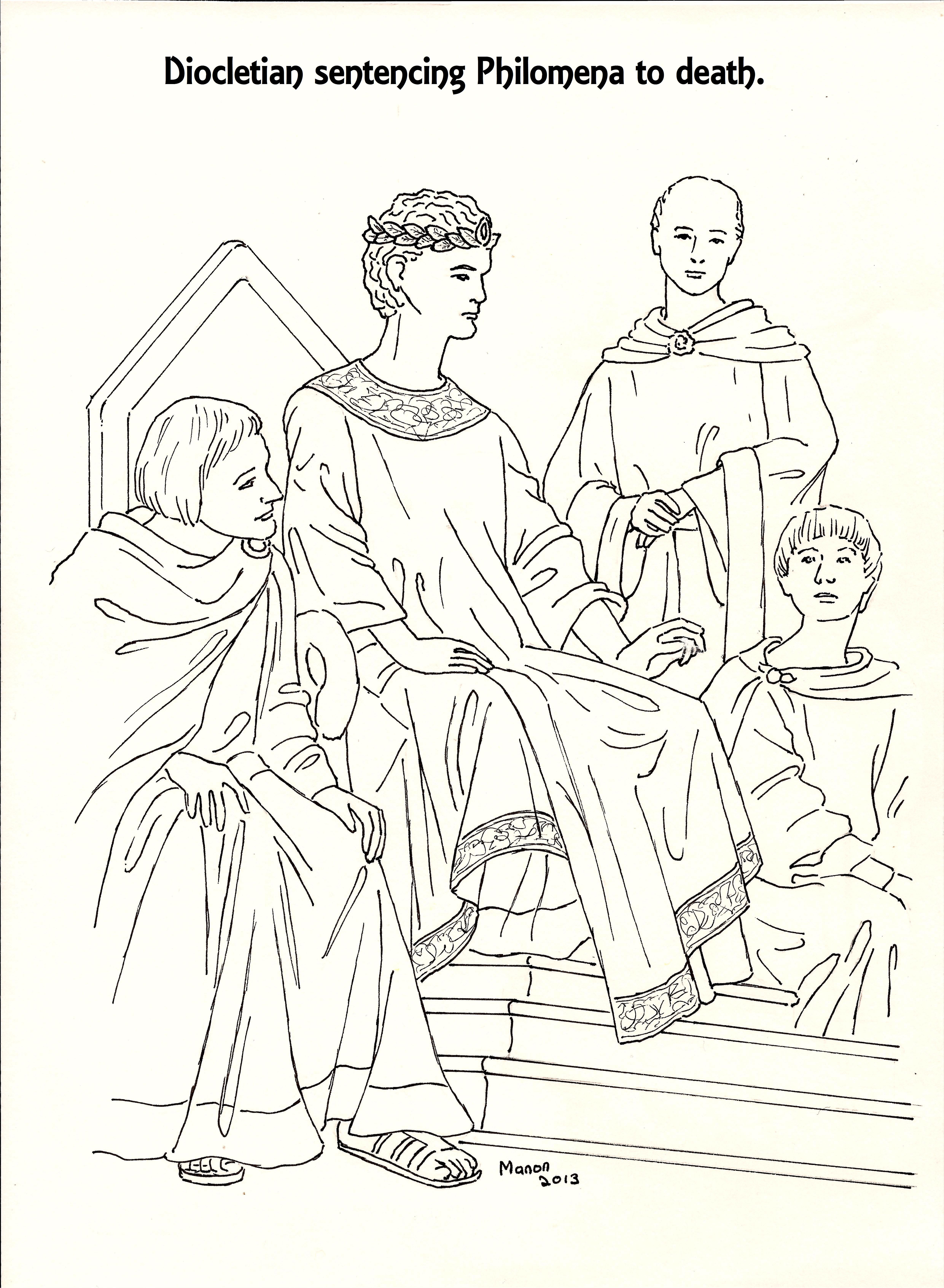 St Philomena A Picture To Colour Diocletian Sentencing Phi