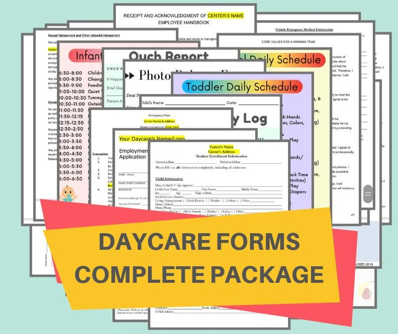 DAYCARE FORMS PACKAGE/ Start Your Own Childcare Center